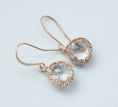 Cute Earrings - Gold Framed Crystal Glass Earrings, - Simple, Sophisticated. Summer Sale. Use Discount Code LILA20 to save 20 percent.