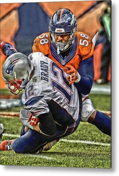 Von Miller Denver Broncos Art Metal Print by Joe Hamilton. All metal prints are professionally printed, packaged, and shipped within 3 - 4 business days and delivered ready-to-hang on your wall. Choose from multiple sizes and mounting options. Denver Broncos Logo, Denver Broncos Football, Football Art, Sport Football, Football Stuff, Broncos Memes, Broncos Fans, Nfl Memes, American Football