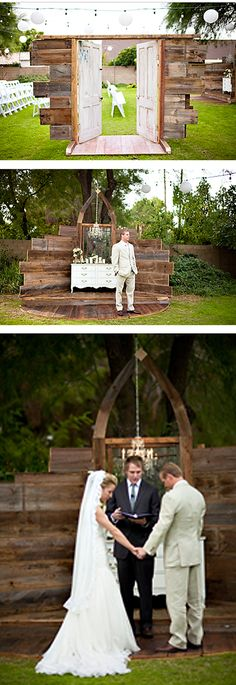 Maybe I could get my hubby to make one for us to Renew our vows :-) beautiful rustic wedding ceremony entrance and alter design by rust and lace.with the hay and rose aisle. Rustic Wedding Alter, Wedding Table, Wedding Ceremony, Our Wedding, Dream Wedding, Outside Wedding, Wedding In The Woods, Event Planning Tips, Wedding Planning