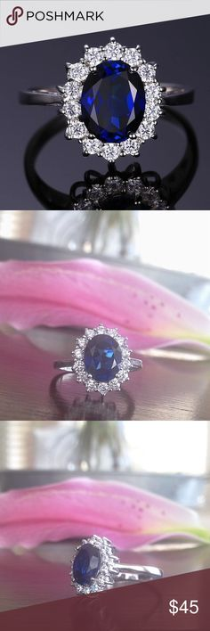 NWT Kate Middleton Princess Sapphire Ring NWT Comes brand new with size tag and free ring pouch. Black velvet ring box available for extra $5 fee upon request. Beautiful ring with round clear zircon crystals encircling a blue oval cut center lab created sapphire stone. Get the Kate Middleton & Princess Diana royal look!   Occasion: Bridal, anniversary, wedding, engagement, placeholder, promise, party, costume, or daily  Metals Type: 925 stamped Sterling Silver plated Available Size: 6  *This…