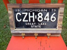 Rustic license plate key holder, By Taylor Garden & Hobby on Facebook.