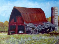 "53 Olds, oil on linen, 2016, 9"" x 12""  Seems like the final use for a lot of old barns is sheltering old vehicles. The car might be restored someday. The barn? Not likely."