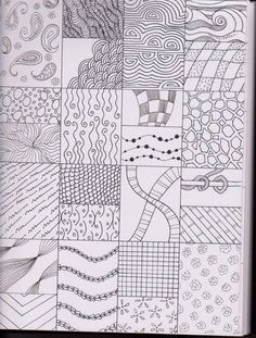 Living Creatively: Teaching Art Lines and Patterns 2 Doodle Patterns, Line Patterns, Zentangle Patterns, Zentangle Drawings, Doodle Drawings, Zentangles, Art Handouts, Ecole Art, Doodles