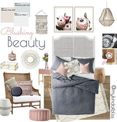 My KInd of Bliss Mood Board- Blushing Beauty/ Boho Luxe/ Nordic Style/ Blush Decor/ Nordic Bedroom Coastal Living Rooms, My Living Room, Living Room Decor, Bedroom Furniture, Home Furniture, Furniture Design, Rattan Furniture, Nordic Bedroom, Modern Scandinavian Interior