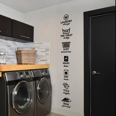 Informations About Wash Dry Fold Iron Laundry Room Vinyl Wall Quote Sticker Decal 40 Laundry Shop, Small Laundry, Laundry Area, Laundry Room Organization, Laundry Room Design, Etched Glass Vinyl, Laundy Room, Vinyl Wall Quotes, Vinyl Art