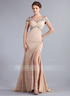 - $166.99 - Trumpet/Mermaid Off-the-Shoulder Sweep Train Chiffon Evening Dress With Beading Split Front (017022796) http://jjshouse.com/Trumpet-Mermaid-Off-The-Shoulder-Sweep-Train-Chiffon-Evening-Dress-With-Beading-Split-Front-017022796-g22796