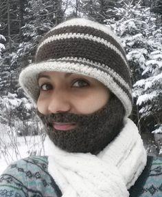 Crochet Beanie with Detachable Beard