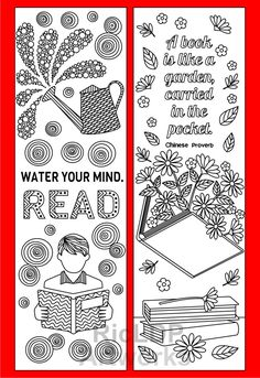 8 Coloring Bookmarks with Quotes on Reading and Books #reading #coloringbookmarks