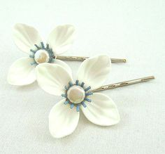 White and blue flower with coin pearl silver by bunnyboutique