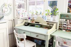 Bureau writing desk A Tilda Filled Pastel Craft Room - Heart Handmade