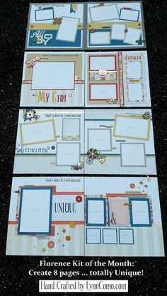 Florence Kit of the Month creates 8 pages ... each completely different in style, color, theme and design. Read more details by clicking on the link below.