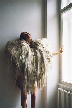 surrender | light | fur | release | letting go | fashion editorial | furry jacket |