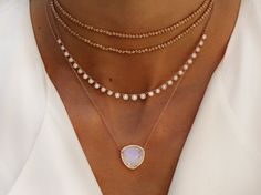 14kt gold and diamond queen moonstone necklace – Luna Skye