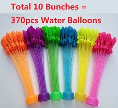 Hot 10 Bunches 370pcs single colors balloons Quick Ammo Water Balloons Bombs Outdoor Garden Fun Kids Party Toy