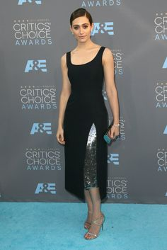 Pin for Later: Get a Front Row Seat to All the Critics' Choice Awards Fashion Emmy Rossum Wearing a Dior dress and Jimmy Choo heels.
