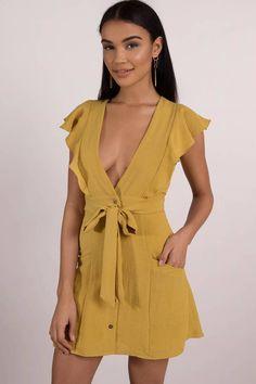 Summer Dresses, Mustard, Poppy Tie Dress