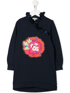 Dark blue cotton TEEN ruffled flower-patch dress from Kenzo Kids featuring a flower-shaped patch to the front, a ruffled neck, long sleeves and a relaxed fit. World Of Fashion, Kids Fashion, Fashion Design, Dress Outfits, Kids Outfits, Kenzo Kids, Flower Patch, Blue Dresses, Women Wear