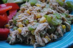 BBQ Chicken Salad, made this with cut onion instead of celery and loved it. Quick and easy but good