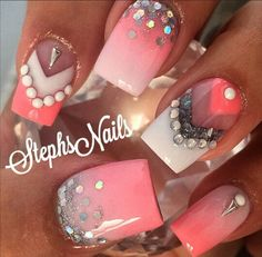 Colours are amazing, not a fan of the bling Get Nails, Fancy Nails, Bling Nails, Love Nails, Coral Nails, Fabulous Nails, Perfect Nails, Gorgeous Nails, Pretty Nails