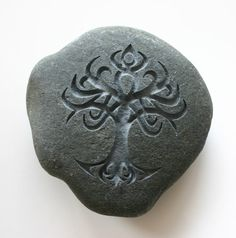 Celtic Tree Engraved Light Grey Stone Celtic Symbol Tree of Life Paperweight