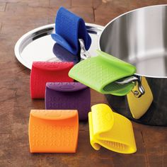 Silicone Pinch Grips | Sur La Table --bright cheery colors mixed with practicality
