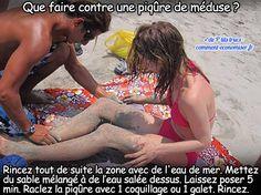 utiliser de l'eau de mer et du sable pour soigner une piqûre de méduse
