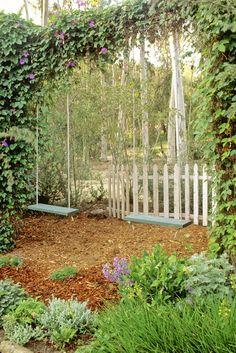 Wooden Swings in the garden