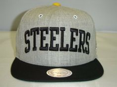f9e2a93e825 Mitchell and Ness NFL Pittsburgh Steelers Gray Black Arch 2 Tone Retro  Snapback Cap by Mitchell