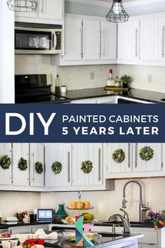 Do cabinets that weren't sanded or primed before they were painted stand the test of time? Find out how our DIY painted kitchen cabinet makeover has held up! #kitchencabinets #diykitchencabinets #paintedcabinets #kitchen #kitchenremodel