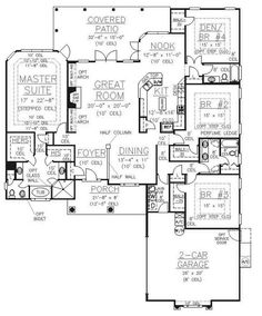 House Plan 53538 Level One Great room sizes - this is the first one I've seen that gives all the bedrooms enough area!!
