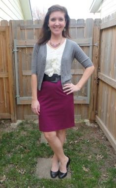 Cardigan (Mossimo, Thrifted), Lace Tank (Macys), Skirt (New York  Co), Shoes (Target), Belt (Thrifted) HK Style Journey Blog, #work outfit, #business outfit, Lucky Contributors