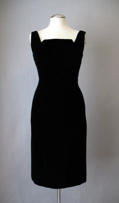 Vintage 60s Dress Cocktail Black Velvet Small bust 35 at Couture Allure Vintage Clothing