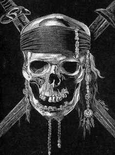 Pirate skull by ~22Zitty22 #art #drawing