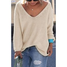 Simple V Neck Long Sleeves Pure Color Loose-Fitting Sweater For Women ❤ liked on Polyvore featuring tops, sweaters, long sleeve tops, loose fit tops, loose long sleeve tops, cut loose tops and long sleeve sweaters