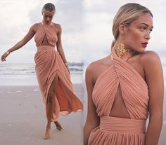 """Halter+style+maxi+dress  Open+front  Slit  Backless  Back+zipper    Material:+Polyester  Occasion:+Prom/Home+Coming/Wedding/Beach/Party/Event/Special+Occastion    (S)  Bust:+33.07""""  Waist:+25.19""""  Length:+57.48""""    (M)  Bust:+34.64""""  Waist:+26.77""""  Length:+57.87""""    (L)  Bust:+36.22""""  Waist:+28.3..."""