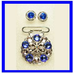 More Irish dance bling: Sapphire blue and clear Swarovski crystal number clip and earring set.