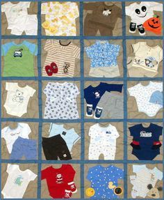 This Site has a lot of great Memory Quilt ideas (babies, sports, adults and… Baby Memory Quilt, Baby Quilts, Memory Quilts, Onesie Quilt, Shirt Quilts, Quilting Projects, Sewing Projects, Quilting Ideas, Baby Clothes Quilt
