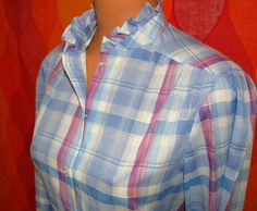 vintage 70's blouse women preppy blue plaid button down ruffle collar shirt Medium metallic gold. $20.00, via Etsy.