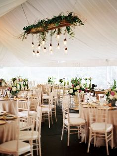 Luxurious Tent Reception with a Mason Jar Chandelier  | Emily Katharine Photography | http://heyweddinglady.com/natural-glam-wedding-lavender-green/