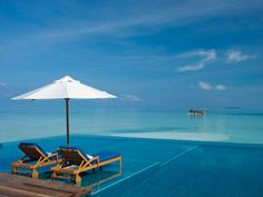 Ranglai Island, Maldives...I want to sit in those chairs with a lovely tropical drink in my hand...and perhaps a handsome pool boy fanning me and feeding me grapes :)
