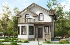Загородный коттедж площадью до 150м2 с эркером и балконом -Новация 72 1200 Sq Ft House, Kerala Traditional House, Modern Bungalow House, Beautiful House Plans, Inviting Home, House Front Design, House Painting, Future House, Building A House