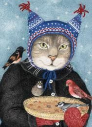 Hat Cat Christmas Cards: Holiday Greeting Card Printed on paper from responsibly managed forests Cat Christmas Cards, Christmas Bird, Holiday Greeting Cards, Christmas Greetings, Photo D Art, Cat Hat, Cat Cards, Vintage Cat, Cute Animal Pictures