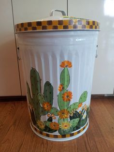 20 Gallon Hand Painted Galvanized Metal Trash/Garbage/Storage Can w/Side Handles and Tight Fit Lid by krystasinthepointe on Etsy Painted Trash Cans, Paint Cans, Painting Galvanized Metal, Garbage Storage, Outdoor Trash Cans, Kitchen Trash Cans, Garbage Can, Trash Bins, Metallic Paint