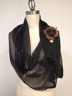 Black Silk Chiffon With Silk Velvet Infinity Scarf Earth