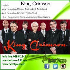 """Acquista ora il tuo biglietto """" KING CRIMSON """" info line: 068841342 Le date: 5 e 6 novembre Milano, Teatro degli Arcimboldi 8 e 9 novembre Firenze, Teatro Verdi 11 e 12 novembre Roma, Auditorium Conciliazione 14 e 15 novembre Torino, Teatro Colosseo  www.ticketplease.it mail: info@ticketplease.it La nostra sede: via Viterbo n.6, Roma. Spediamo in tutta Italia con Bartolini. #KingCrimson #rock #progressive  @DGMHQ @R_Fripp_Diaries #teatro #arciboldi"""
