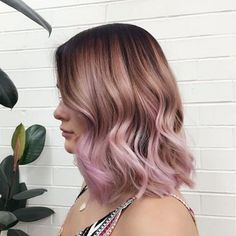 Beautiful long bob hair style with brown pink ombre