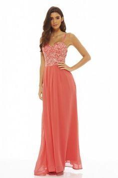 Women's Lace Bodice Maxi  Coral Dress