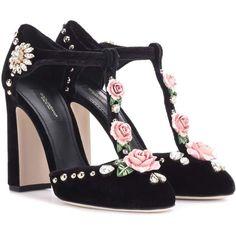Dolce & Gabbana Embellished Velvet Pumps ($1,390) ❤ liked on Polyvore featuring shoes, pumps, heels, black, velvet pumps, embellished heel shoes, velvet shoes, heel pump and embellished pumps
