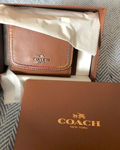 8e18bf3b11ed6 NEW COACH Leather Wallet - tan leather exterior w  rainbow stitching detail   fashion
