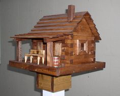 Log Cabin Bird House by naturescountrycrafts on Etsy, $75.00